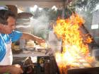 Hard working volunteer - Flaming Saganaki...OPA! St. Nectarios Greekfest, Palatine