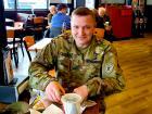 Military member enjoying lunch at Billy Boy's Restaurant in Chicago Ridge
