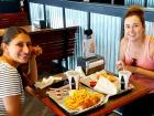 Friends enjoying fried shrimp at Billy Boy's Restaurant in Chicago Ridge