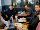 Police officers and friends enjoying lunch at Billy Boy's Restaurant in Chicago Ridge