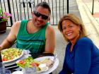 Couple enjoying lunch on the patio at Dino's Cafe in Bloomingdale