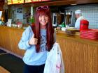 Happy carry-out customer at Nick's Drive In Restaurant Chicago