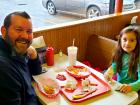Dad and daughter enjoying lunch at Nick's Drive In Restaurant Chicago