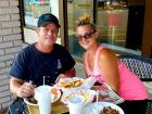 Couple enjoying outdoor lunch at The Works Gyros in Glenview