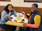 Friends enjoying the famous gyros at The Works Gyros in Glenview