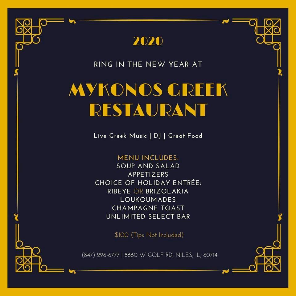 New Year's Eve Celebration At Mykonos Greek Restaurant