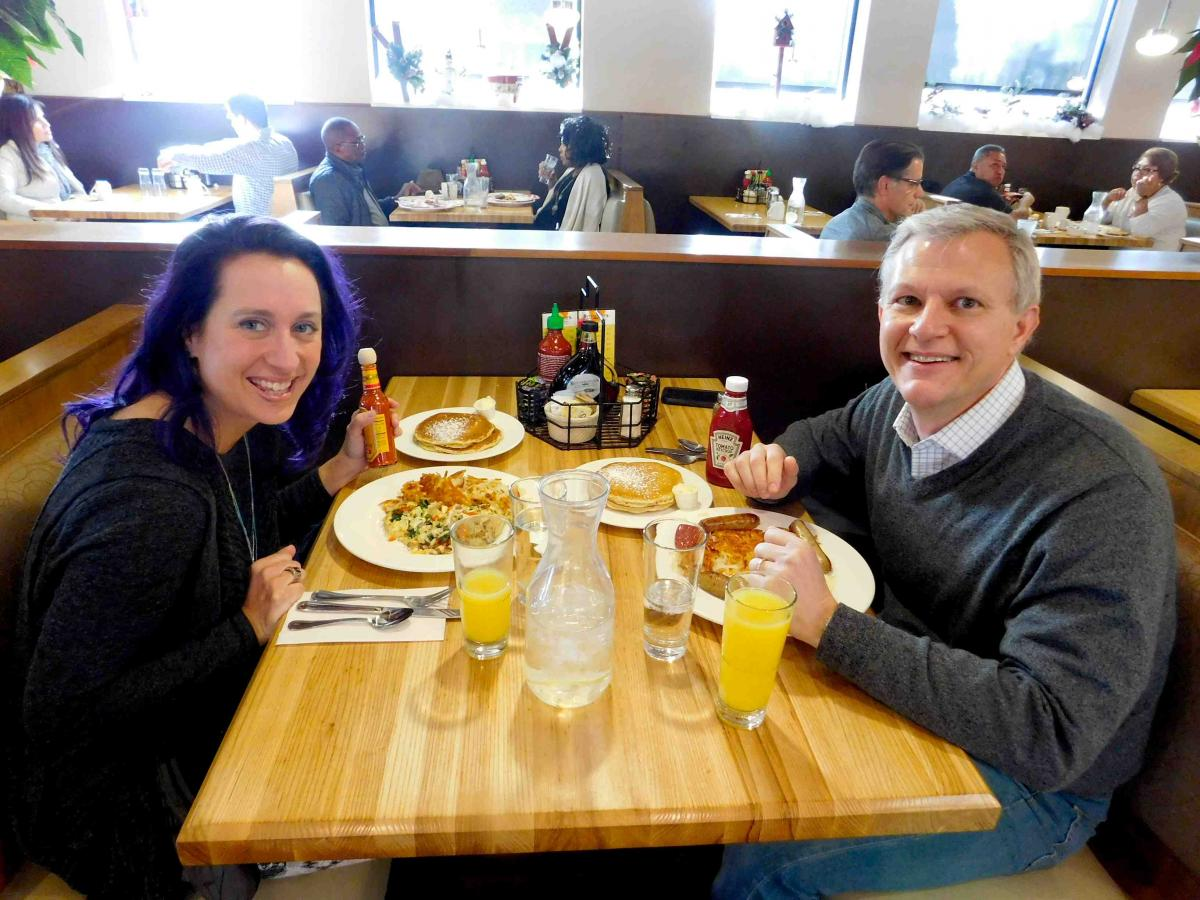 Enjoying Breakfast At Erfield S Pancake House Restaurant In Oak Brook Terrace