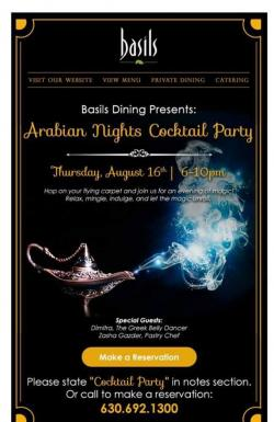 Arabian Nights Cocktail Party at Basil's Greek Dining in Aurora