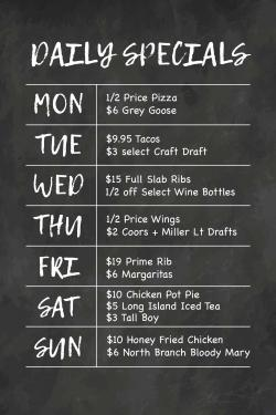 North Branch Pizza & Burger Company Daily Specials - Glenview