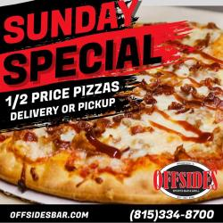 Half-Price Pizza Every Sunday at Offsides Sports Bar & Grill - Woodstock