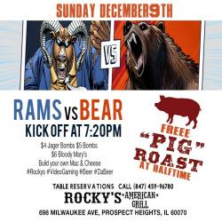 Rams vs Bears Sunday Night Football at Rocky's American Grill - Prospect Heights