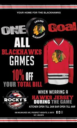 Chicago Blackhawks Jersey Special at Rocky's American Grill - Prospect Heights