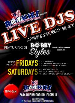 Live DJ at Rookie's Pub and Grill - Elgin