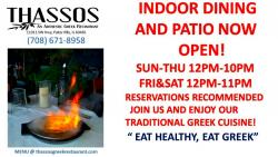 Indoor and outdoor dining at Thassos Greek Restaurant - Palos Hills