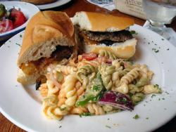 Sandwich and pasta salad at Artopolis in Chicago