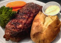 Char-broiled New York strip steak at Jameson's in Arlington Heights