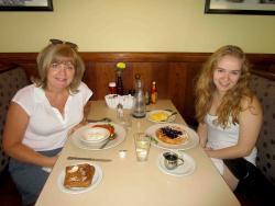 Mom & daughter enjoying breakfast at Annie's Pancake House in Skokie