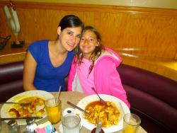 Mom and daughter enjoying breakfast at Bentley's Pancake House & Restaurant in Wood Dale