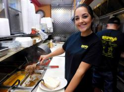 Friendly kitchen crew at Brandy's Gyros in Chicago (on Milwaukee Ave)