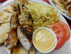 Delicious Pork Souvlaki at Burger Baron Restaurant in Chicago