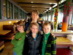 Family after enjoying lunch at Butterfield's Pancake House & Restaurant in Naperville