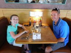 Dad and daughter enjoying lunch at Butterfield's Pancake House & Restaurant in Naperville