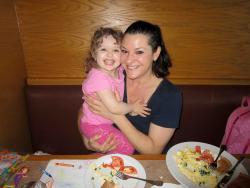 Mother and daughter enjoying breakfast at Butterfield's Pancake House & Restaurant in Naperville