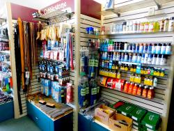 Product display at Cobblestone Quality Shoe Repair in Naperville