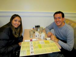 Friends enjoying lunch at Eggs Inc. Cafe in Chicago (Streeterville)