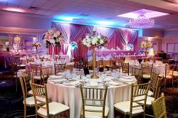 Beautifully decorated ballroom at Empress Banquets in Addison