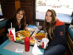 Mom & daughter enjoying Greek Chicken and Shrimp at Franksville Restaurant in Chicago