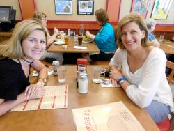 Mom and daughter enjoying lunch at Georgie V's Pancakes & more in Northbrook