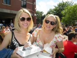 Friends ready to enjoy food at the Lincoln Park Greek Fest in Chicago