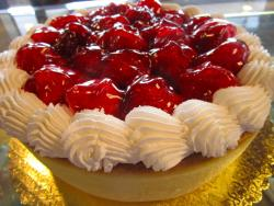 Strawberry cheesecake at Omega Restaurant & Pancake House in Downers Grove