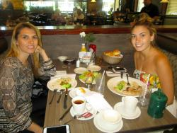 Sisters enjoying lunch at Omega Restaurant & Pancake House in Schaumburg
