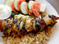 The Athenian Style Chicken Kabob at Omega Restaurant & Pancake House in Schaumburg