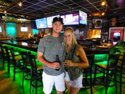 Couple enjoying late lunch & drinks at Rocky's American Grill in Prospect Heights
