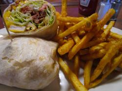The famous Cajun Chicken Wrap at Sports Page Bar & Grill in Arlington Heights