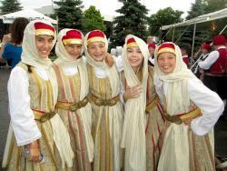 Friendly dancers after performing at St. Demetrios Greek Fest in Elmhurst