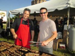 Volunteers cooking Souvlaki at St. Demetrios Greek Fest in Libertyville