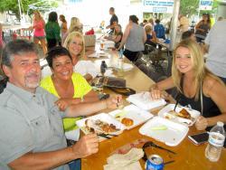 Friends enjoying the Oak Lawn Greek Fest at St. Nicholas