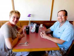 Couple enjoying lunch at Village Inn Restaurant in Huntley