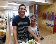 Happy customers at Apolis Greek Street Food in Lisle