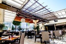 Spacious outdoor dining area at Athena Greek Restaurant in Chicago