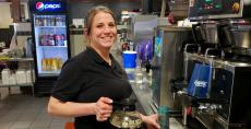 Friendly server at Big Apple Pancake House in Joliet