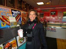 Happy customer getting carry-out at Bo-Bo's Restaurant in Deerfield