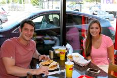 Couple enjoying lunch at Brandy's Gyros in Chicago