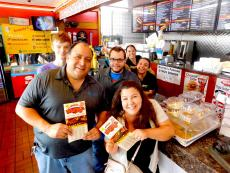 Customers and staff having fun at Brandy's Gyros in Des Plaines