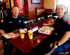 Emergency officers enjoying lunch at Brandy's Gyros in Hanover Park