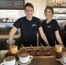 Friendly servers with Greek Coffee & Frappe at Briki Cafe in Addison